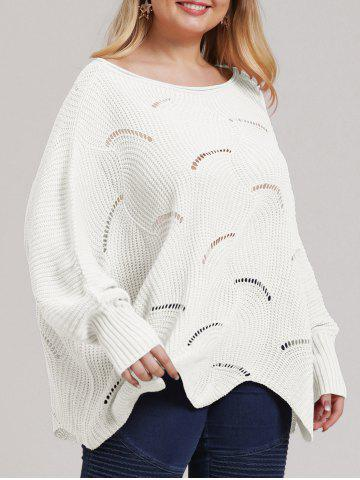 Plus Size Asymmetric Open-knit Sweater - WHITE - 2XL