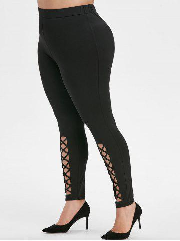 Plus Size High Waisted Crisscross Leggings - BLACK - L