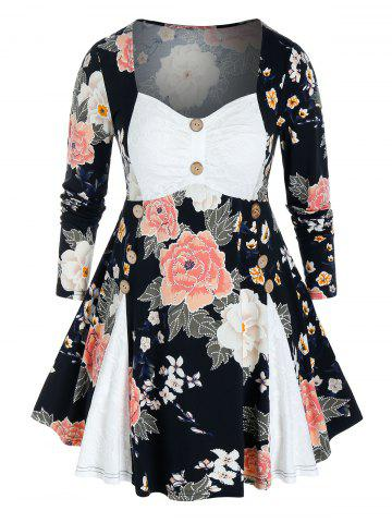 Plus Size Lace Panel Flower Print Skirted Tunic Tee - BLACK - L