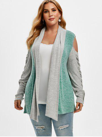 Shawl Collar Cold Shoulder Heathered Colorblock Plus Size Cardigan