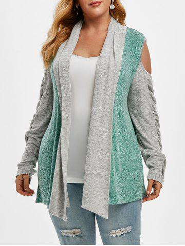 Shawl Collar Cold Shoulder Heathered Colorblock Plus Size Cardigan - GREEN - 5X