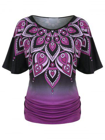Plus Size Ombre Ruched Patterned Flutter Sleeve Tee - BLACK - 5X