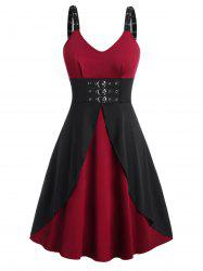 Plus Size Gothic Buckles Eyelet Midi Dress -