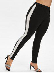 Plus Size High Rise Contrast Trim Fitted Pants -