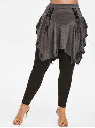 Plus Size High Rise Lace Up Skirted Pants -