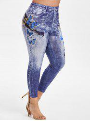 Plus Size High Rise Butterfly 3D Print Ninth Jeggings -