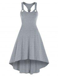 Solid Color Grommet Cami High Low Dress -