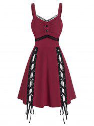 Lace Panel Sleeveless Lace-up Gothic Dress -