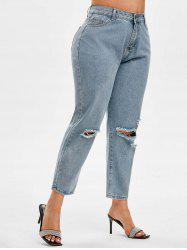 Distressed Mid Rise Plus Size Tapered Jeans -