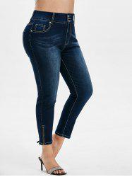 Plus Size High Waisted Faded Ninth Jeans -