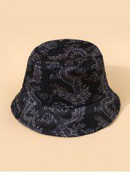 Chinese Style Dragon Print Casual Bucket Hat -