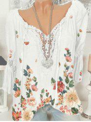 Plus Size Bell Sleeve Lace Insert Floral Print Top -