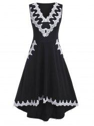 V Neck Lace Trim Sleeveless High Low Dress -