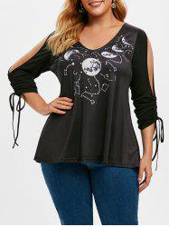 Plus Size Constellation Moon Print Open Shoulder Cinched Tee -