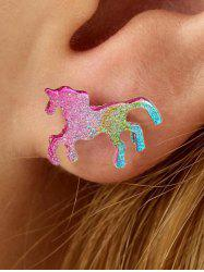 Glitter Gradient Unicorn Shape Stud Earrings -