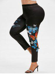 Plus Size High Rise Butterfly Print Fitted Leggings -
