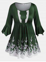 Flare Sleeve Lace Trim Leaves Floral Plus Size Blouse -