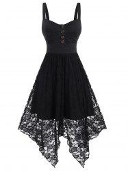 Sleeveless Button Ruched Flower Lace Hanky Hem Dress -