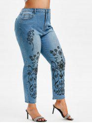 Plus Size Faded Tribal Floral Print Jeans -