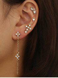 4 Piece Rhinestone Stud and Long Drop Earrings Set -