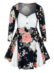 Plus Size Lace Panel Flower Print Skirted Tunic Tee -