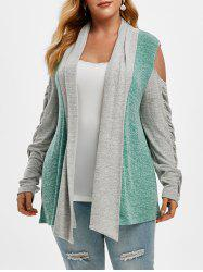 Shawl Collar Cold Shoulder Heathered Colorblock Plus Size Cardigan -