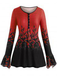 Plus Size Bell Sleeve Half Button Floral Print Tee -