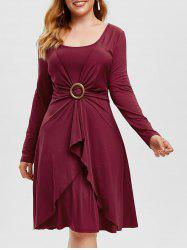 Plus Size Overlap O Ring Knee Length Dress -
