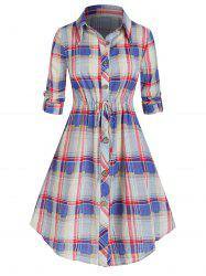 Plus Size Plaid Drawstring Curved Roll Tab Sleeve Shirt Dress -