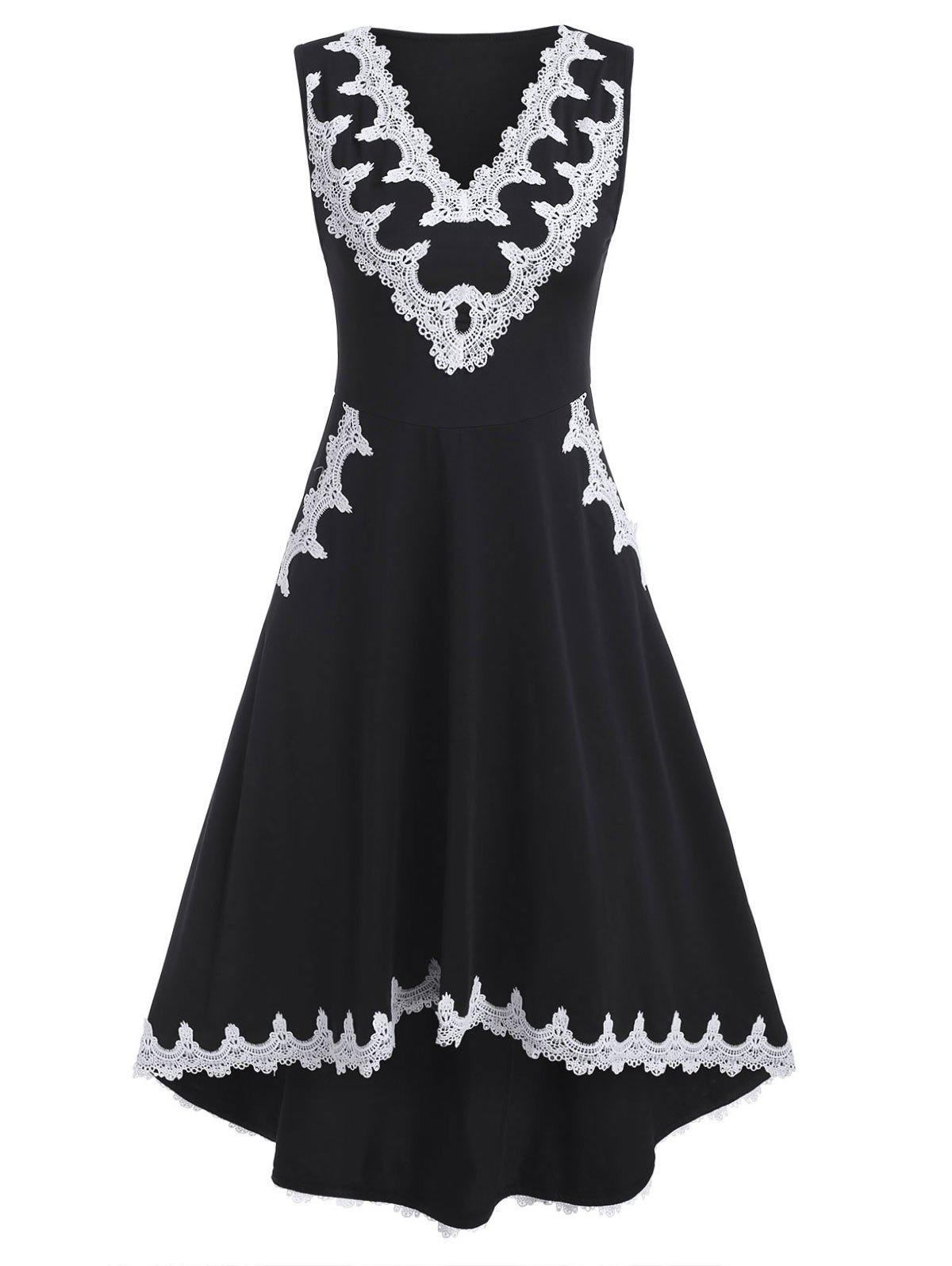 Hot V Neck Lace Trim Sleeveless High Low Dress