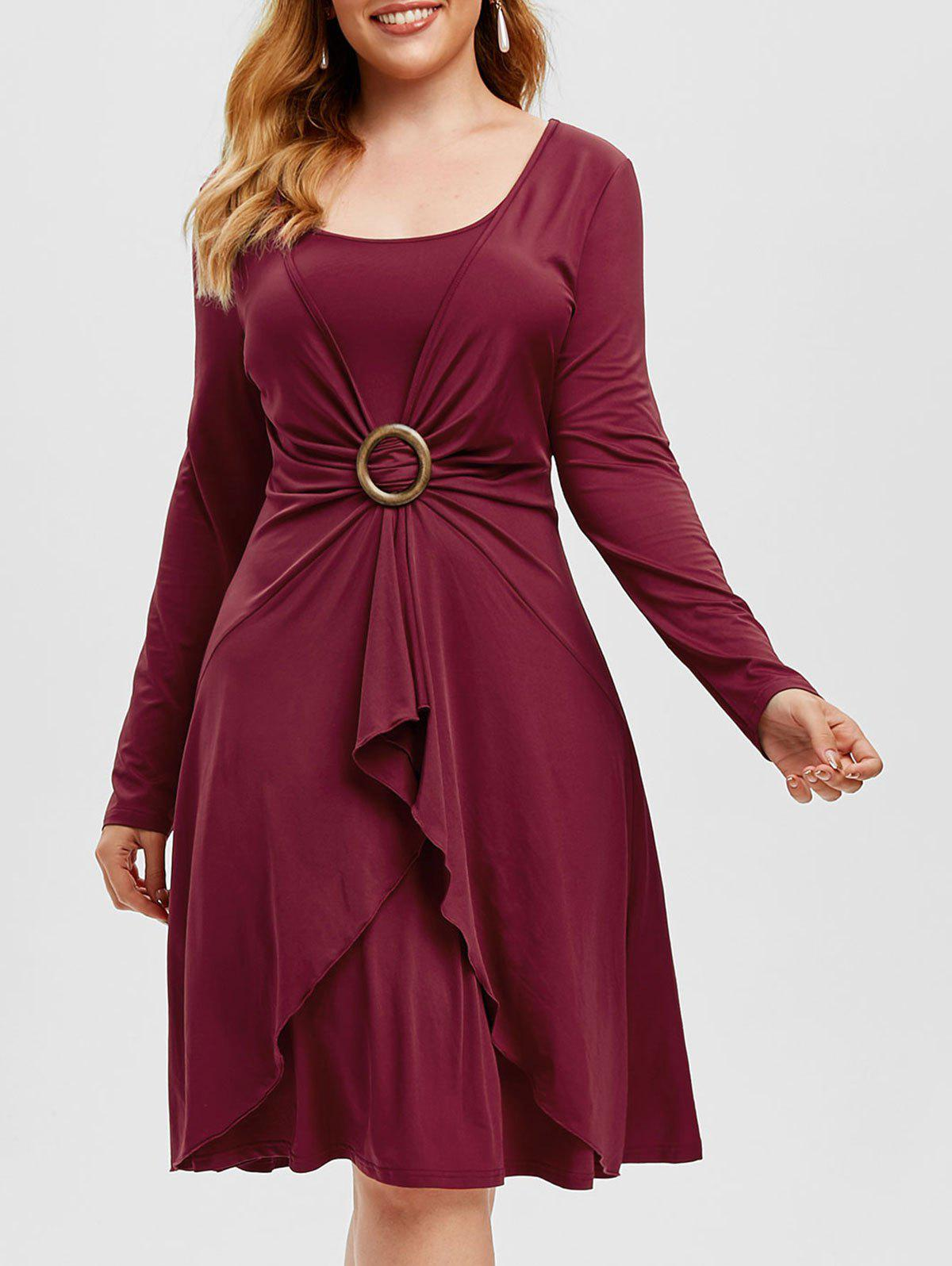 Best Plus Size Overlap O Ring Knee Length Dress