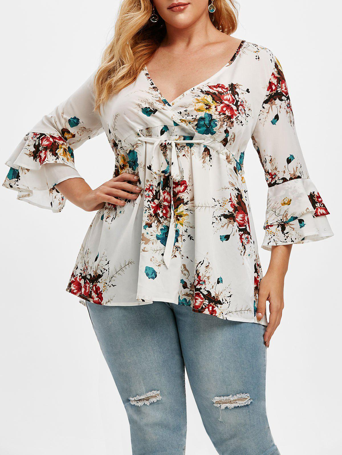 Shops Plus Size Floral Print Drawstring Bell Sleeve Top