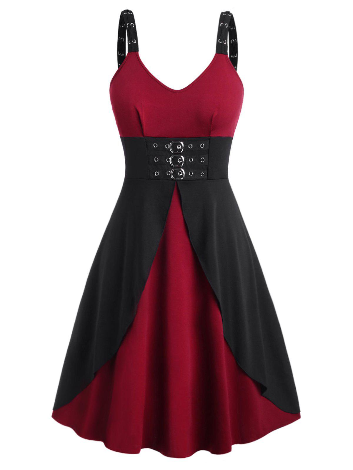 Affordable Plus Size Gothic Buckles Eyelet Midi Dress