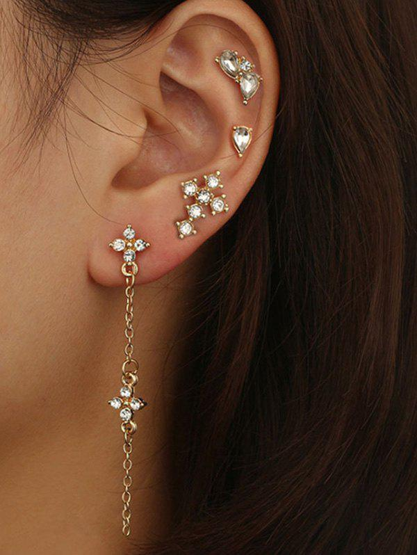 Outfit 4 Piece Rhinestone Stud and Long Drop Earrings Set