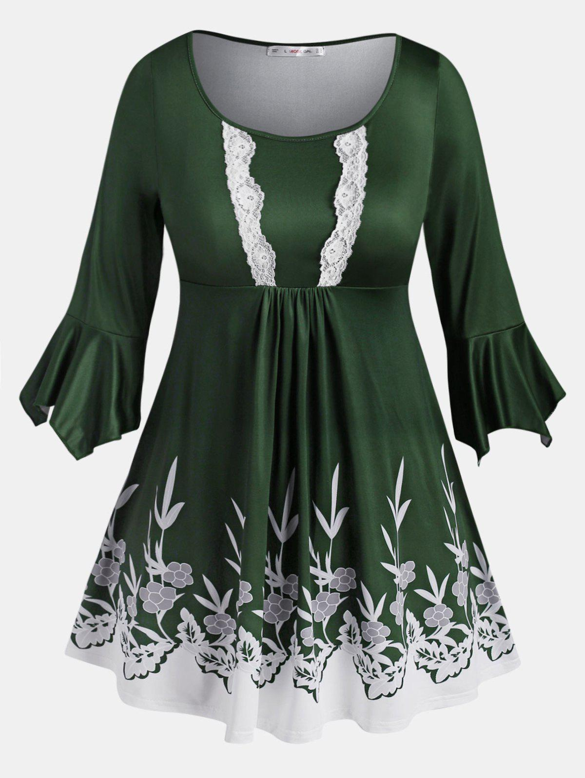Chic Flare Sleeve Lace Trim Leaves Floral Plus Size Blouse