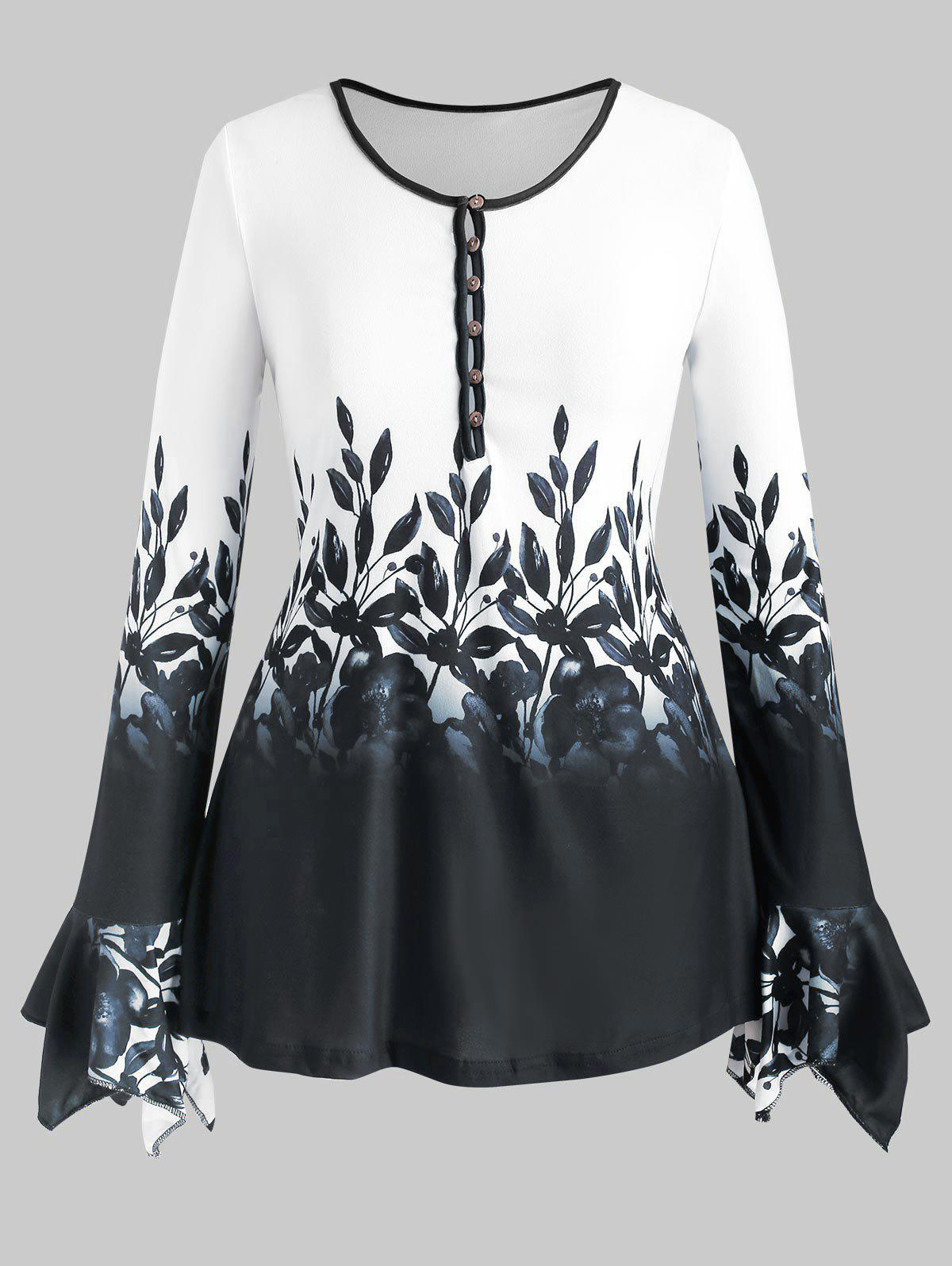 Sale Plus Size Bell Sleeve Half Button Floral Print Tee