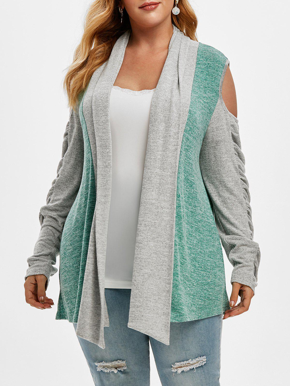 Fashion Shawl Collar Cold Shoulder Heathered Colorblock Plus Size Cardigan