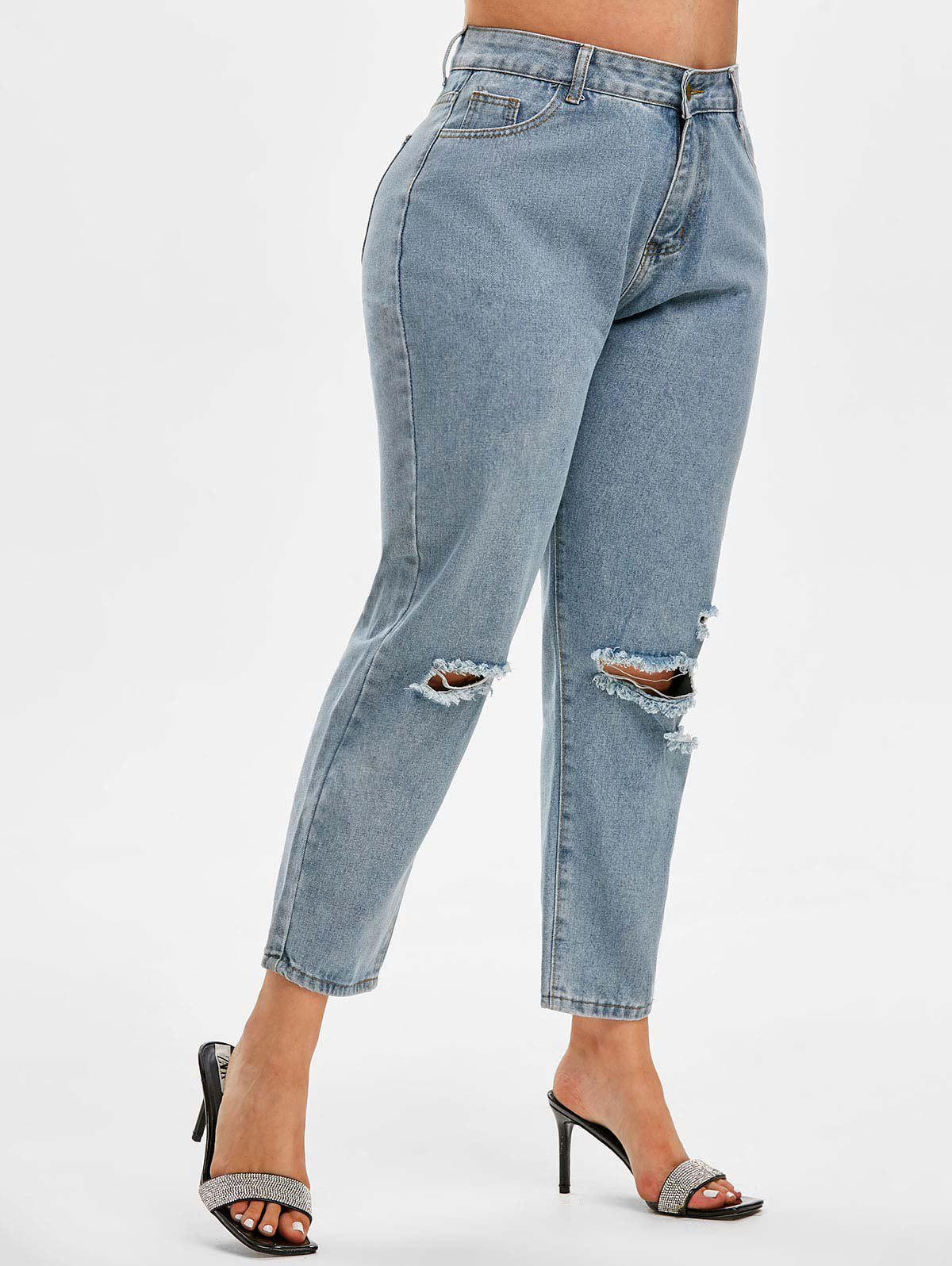 Chic Distressed Mid Rise Plus Size Tapered Jeans