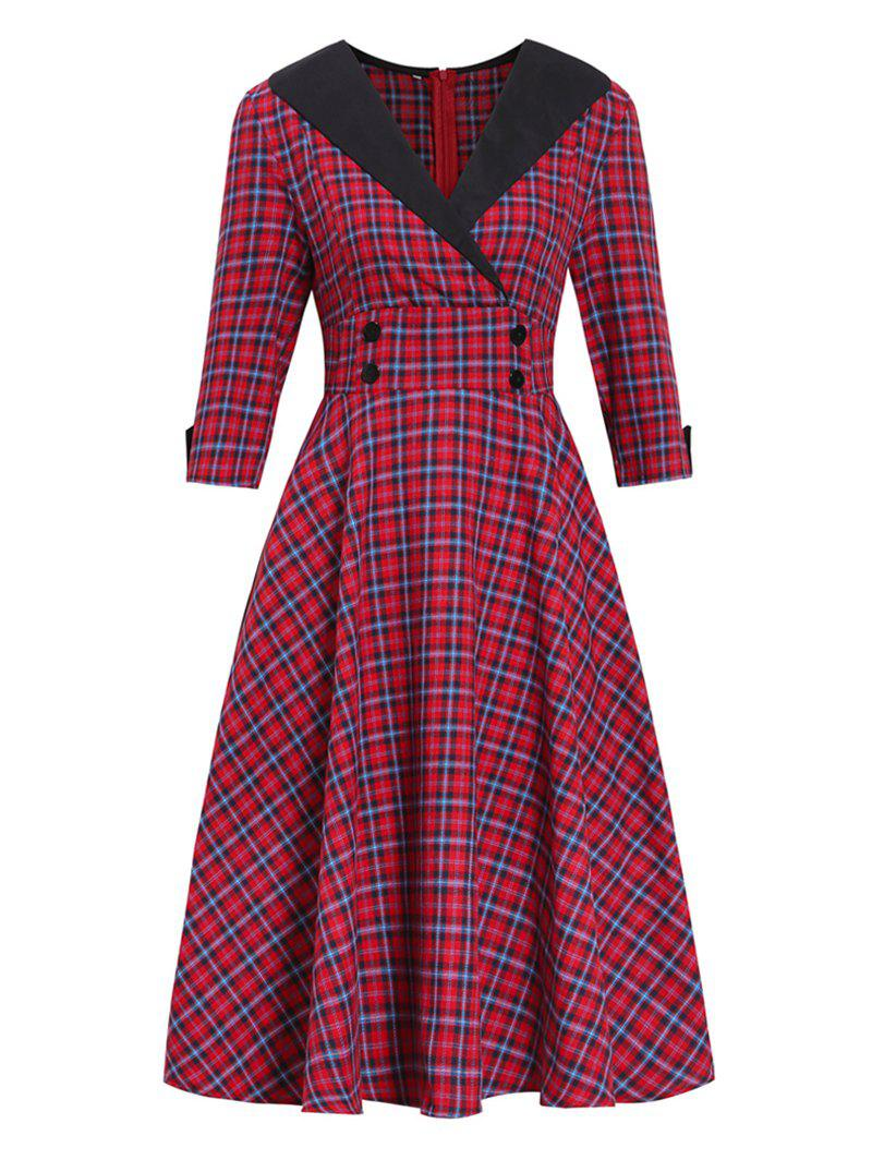 Hot Plaid Button Embellished Surplice Dress