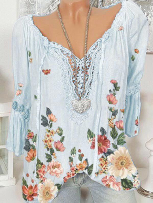 Store Plus Size Bell Sleeve Lace Insert Floral Print Top