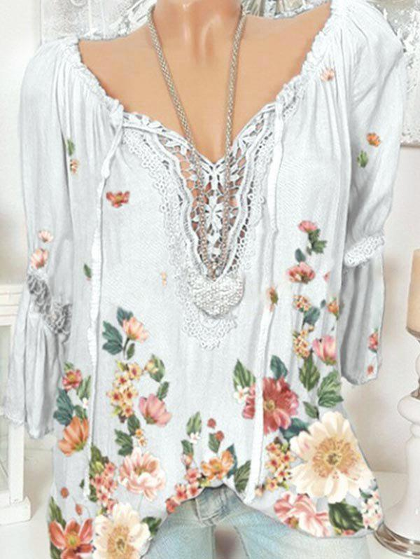 Shop Plus Size Bell Sleeve Lace Insert Floral Print Top