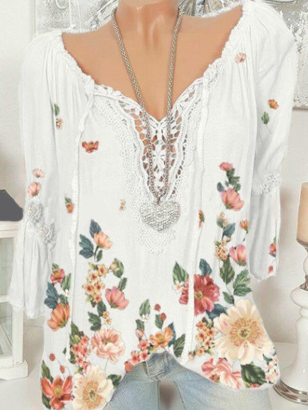 Outfits Plus Size Bell Sleeve Lace Insert Floral Print Top