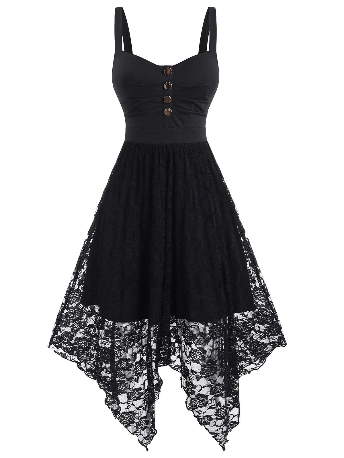 Unique Sleeveless Button Ruched Flower Lace Hanky Hem Dress