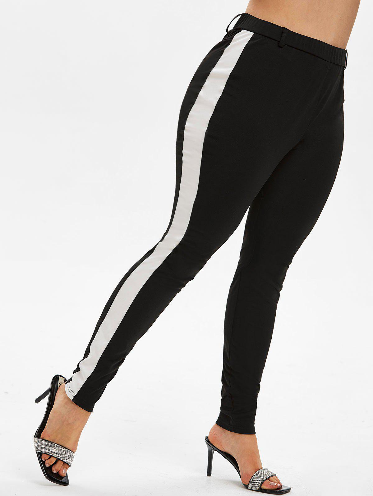 Cheap Plus Size High Rise Contrast Trim Fitted Pants