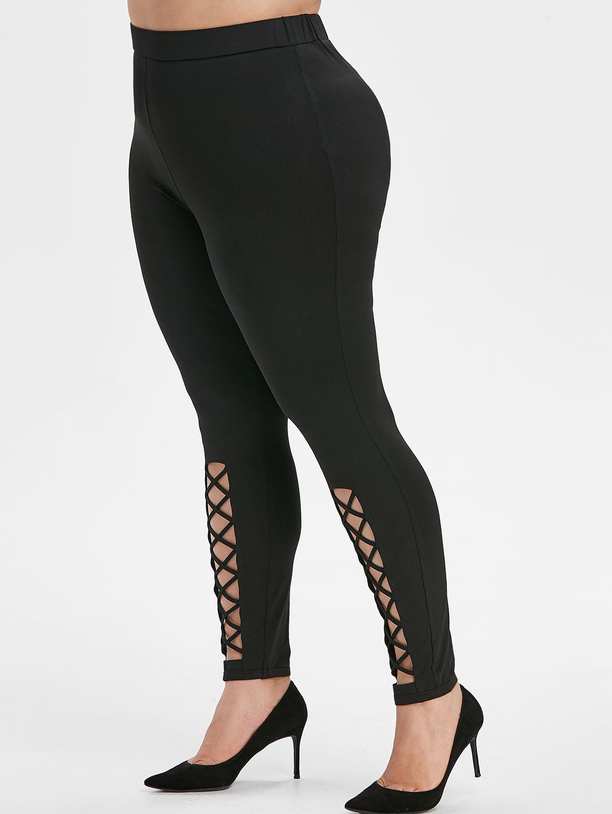 Discount Plus Size High Waisted Crisscross Leggings