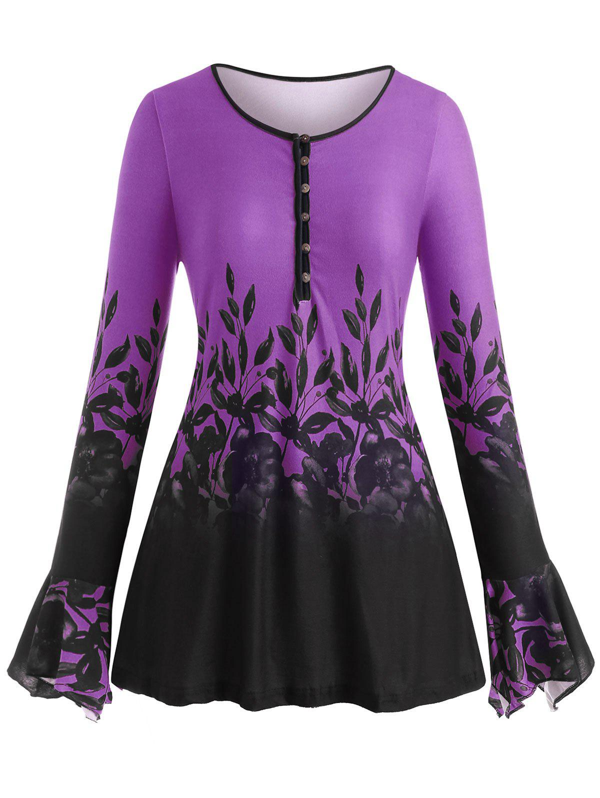 Latest Plus Size Bell Sleeve Half Button Floral Print Tee