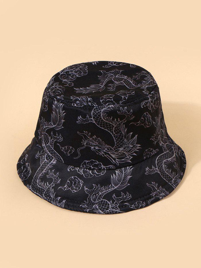 Sale Chinese Style Dragon Print Casual Bucket Hat