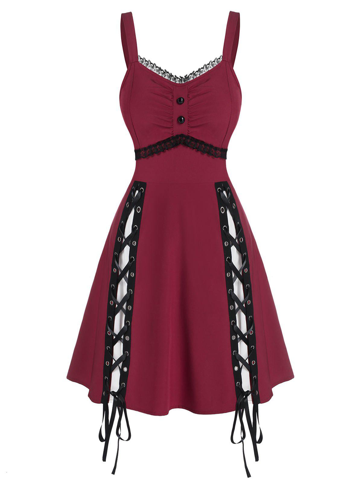 Hot Lace Panel Sleeveless Lace-up Gothic Dress