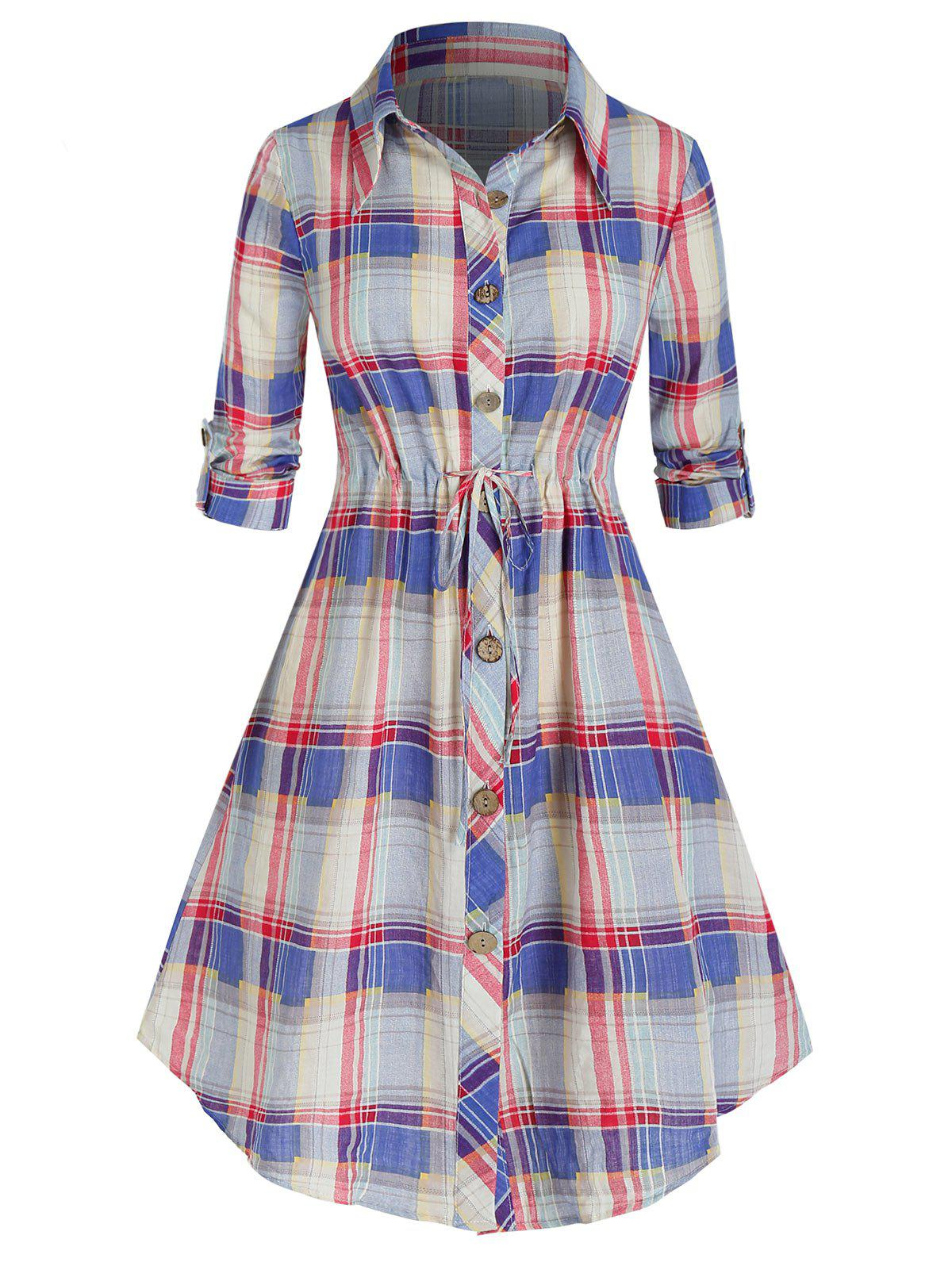 Hot Plus Size Plaid Drawstring Curved Roll Tab Sleeve Shirt Dress