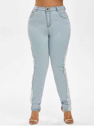 Plus Size Faded Lace Panel Skinny Jeans - LIGHT BLUE - 4X